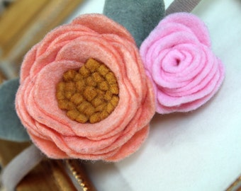 CELINA Peach&Pink Felt flower headband || Flower headband || Nylon headband || One size fits all (baby - adult) || bowemmgee