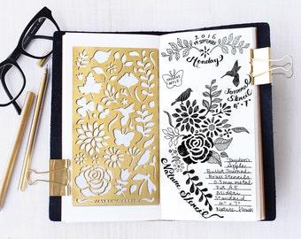 Planner Stencil, Bullet Journal Stencil, Nature, Flowers Stencil - fits A5 journal & Midori Regular (Nature L)
