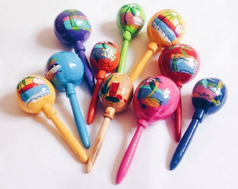 Wedding maracas, Mexican maracas, Mexican wedding decorations, Wooden maracas, Wedding favors, Mexican party favors, SET OF 10
