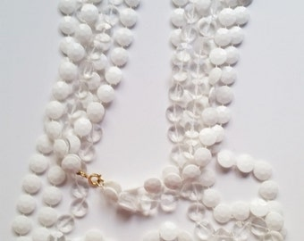 Double Strand of White and Clear Flat Disk Beads for Crafting