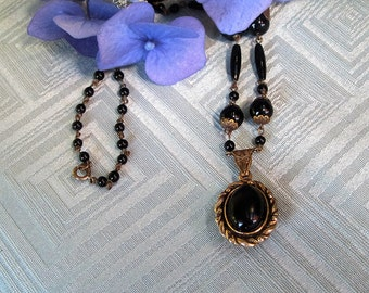 Vintage Black Glass Bead and Metal Link Necklace 1960s