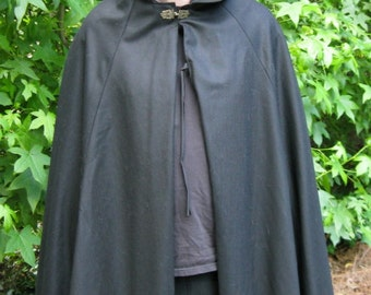 BLACK WOOL cloak / cape, lined, Medieval, Renaissance, Pagan