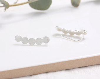 Sterling Silver Circles Ear Climbers, Bubbles Ear Crawlers-1pair