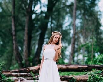 HEATHER aline wedding dress - Chiffon wedding gown, Detachable tulle top, Handmade swarovski crystal belt, Flowy wedding dress