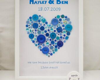Wedding Personalised Button Art, Anniversary Button Art, Celebration, Wedding Gift, Button Art