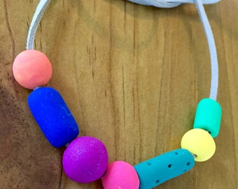 Polymer clay bead necklace.  Bright, Beautiful & Bold.
