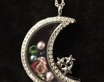"""New Moon Shaped Floating Charm Locket with Rhinestones and a 24"""" Sterling Silver Chain"""