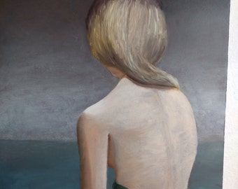 woman back landscape body hand-made oil painting