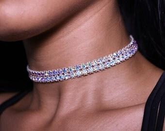 Ivory Diamond Choker Necklace 2 row