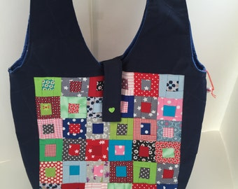 Shoulder bag blue patchwork shoulder bag of tote bags hand work
