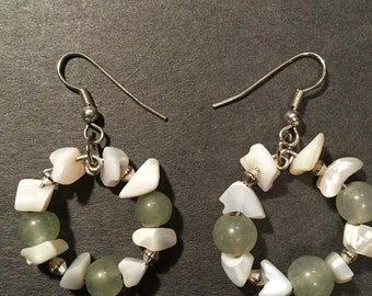 Aventurine and Mother of Pearl Earrings