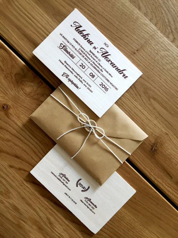 Wooden Wedding Invitation Diy Invitation Kit Real Wood