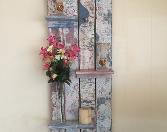 Large Pallet Wood Wall Shelf - Distressed Wallpaper Effect - Rustic Shabby Chic