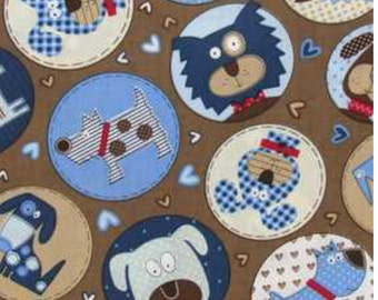 Woof woof cotton calico fabric