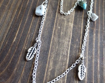 SALE: Double-row silver necklace with Howlite, Turquoise and feathers
