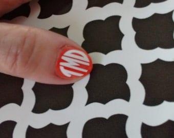 Finger Nail Monograms/10 Toe Nail Monograms/10 Finger Nail Decals/ Manicure Art/ Nail Art/ Nail Accessories/Stylish Nails