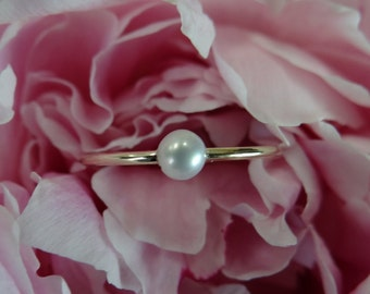14K Yellow Gold and Pearl Engagement Ring- Yellow Gold Wire and Freshwater Pearl Ring- Dainty Pearl Ring