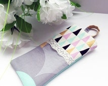 Fabric Sunglasses Case / Reading Glasses Case - Geometric Pastels
