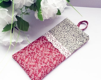 Fabric Sunglasses Case / Reading Glasses Case - Red Floral Swirl