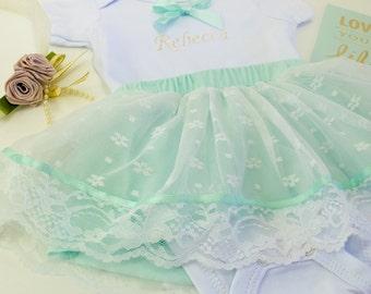 Mint Lace Skirt Keepsake Bodysuit Embroidery Name