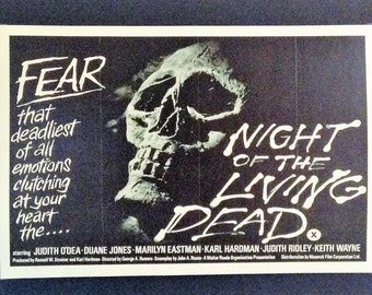 "Night Of The Living Dead 1968 Movie Poster 12""x18"" Reproduction // 1968 // Horror // George Romero"