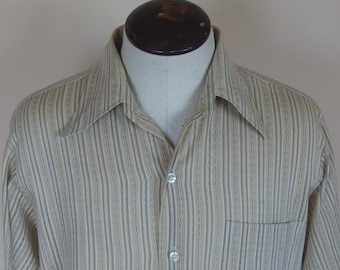 Mens 1970s Long Sleeve Cotton Blend  Summer Shirt