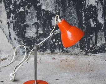 Lamp casserole orange metal office articulated foot chrome / lamp table vintage 70 s / Holy10lighting