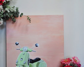 Vespa art, acrylic painting on canvas, Italy, Canadian art