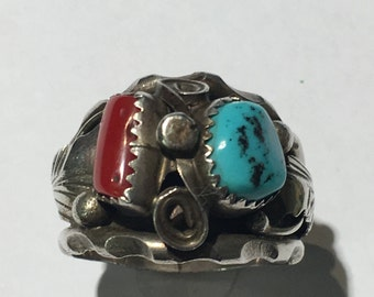Vintage Max C. Turquoise & Coral Navajo American Style Ring