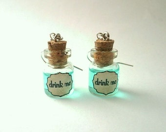 "Alice in Wonderland earrings ""Drink Me"". Alice blue glass bottle Earrings"
