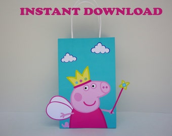 Peppa Pig Princess Party Favor Bag/ Peppa Birthday Party Favors/ Goodie/ Goody/ Loot/ Treat/ Candy Bags/ DIY Peppa Pig Party Decorations
