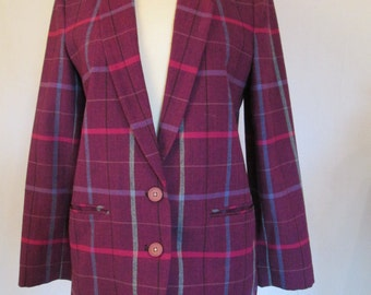 1980s vintage womens purple wool plaid blazer jacket S/M