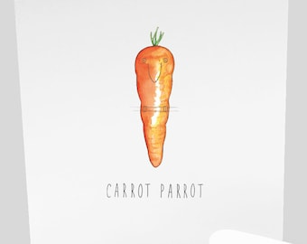 Carrot Parrot Greetings Card