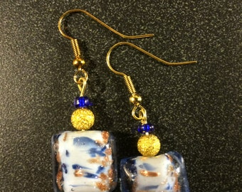 Blue and Gold Speckled Earrings
