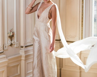 Hand Beaded Bridal Jumpsuit