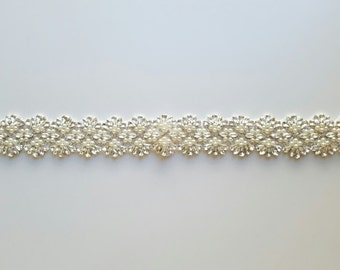 Wedding Sash Belt, Crystal Pearl Sash Belt