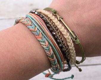 Friendship Bracelet Pack, Surfer Bracelet, Bronze Arrow Charm, Adjustable Bracelet, Stackable Boho Jewelry, Waterproof Wax Cord, Set of 5