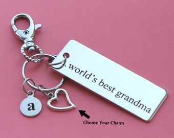 Personalized Grandma Key Chain World's Best Grandma Stainless Steel Customized with Your Charm & Initial - K420