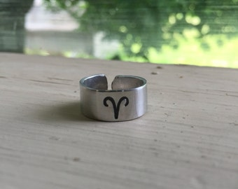 Aries Ring - Horoscope Ring - Zodiac Jewelry - Zodiac Ring - Astrology - Adjustable Stamped Ring