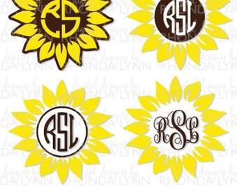 SALE! Sunflower svg, dxf, png, jpg, pdf cut file, Sunflower Digital Download, Sunflower Monogram, Sunflower Pattern, Sunflower Clipart