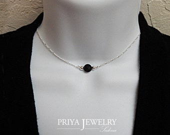 DAINTY Choker BLACK LAVA Choker Necklace or Layering Necklace 14K Gold or Sterling Sterling Silver Necklace Genuine Lava Stone, Sedona