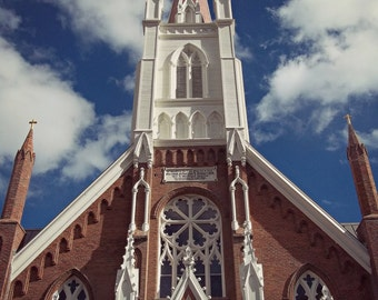 St. Mary's Church in the Mountains Photograph, Virginia City, Nevada, Old Brick Churches, Catholic Churches, Steeples, Spires, Holy Crosses