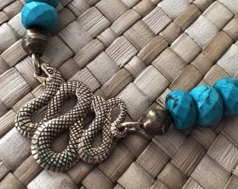 Chrysocolla and Bronze Serpent Necklace