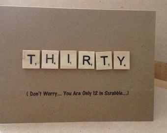 30th scrabble letter birthday card