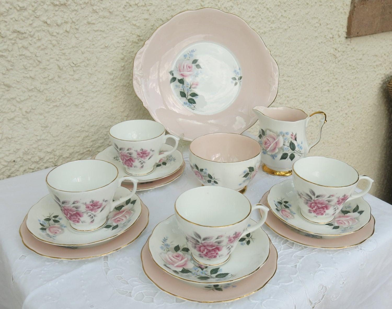 vintage shabby chic china tea set. Black Bedroom Furniture Sets. Home Design Ideas