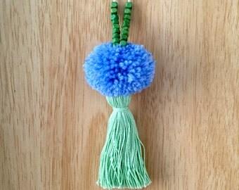 Blue & Green Pompom Tassel Necklace