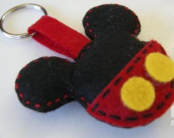 Felt Mickey Mouse keychain, Felt Mickey Mouse keyrings