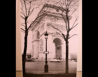 SALE - Place Charles de Gaulle Paris Poster  - Arc de Triomphe Black and White - Brand New still in Cardboard and wrapped