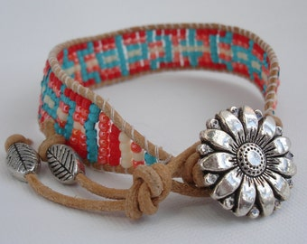 Coral and Teal Beaded Bracelet