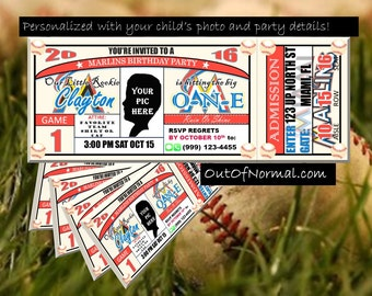 SALE! Miami MarlinsThemed Birthday Invitation Tickets - Baseball Birthday Invitations - Personalized and customized